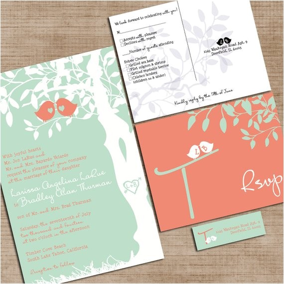 Mint Color Wedding Invitations Mint Green and Coral Wedding Invitations Custom Love Birdies