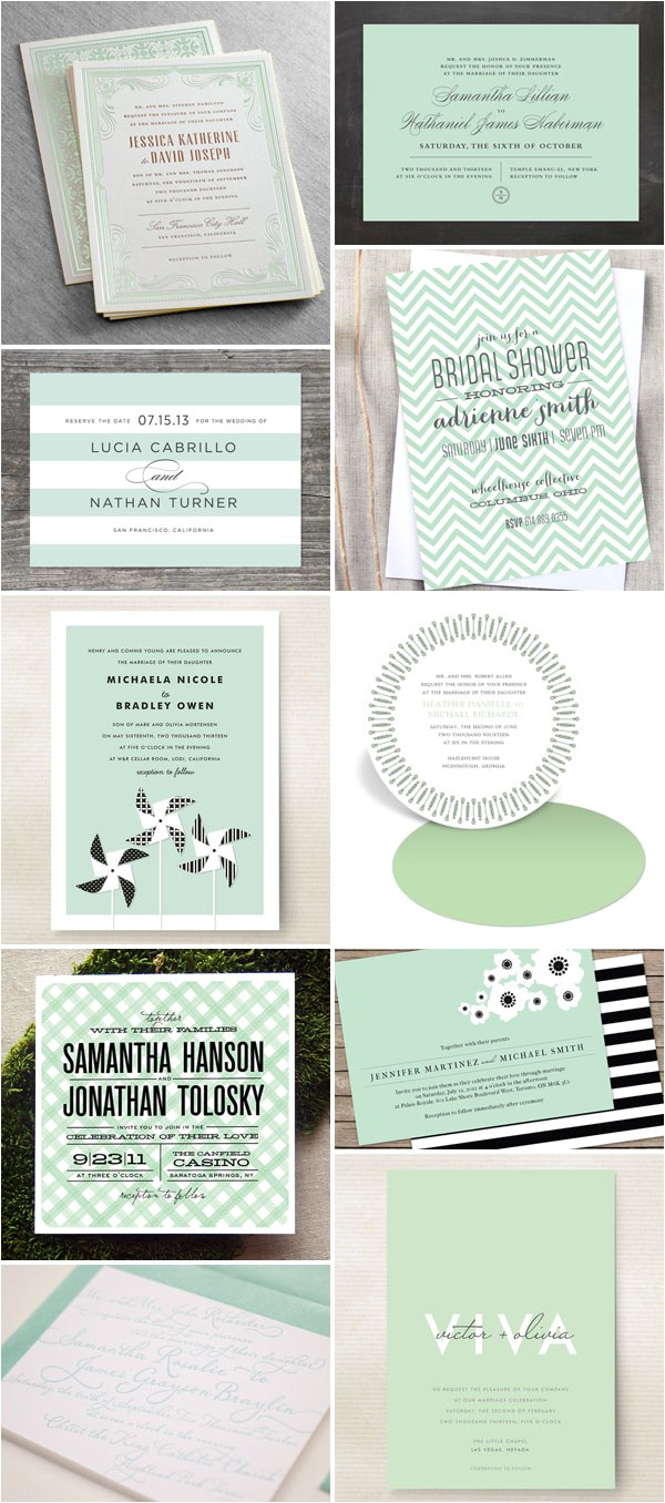 wedding invitation color trend mint green