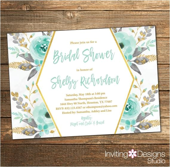 mint bridal shower invitation bridal