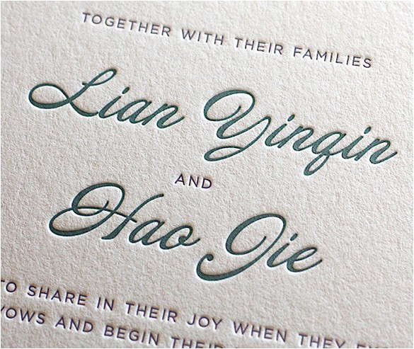 modern fonts wedding invitation