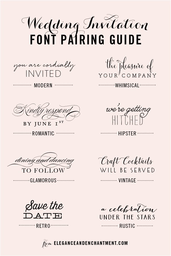 Modern Wedding Invitation Fonts Wedding Invitation Font Pairing Guide Michellehickey Design
