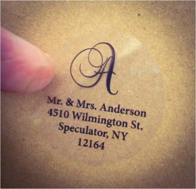 clear script monogram address labels for wedding invitation thank you note envelope seals custom printed transparent round labels glossy