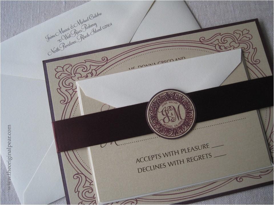elegant wedding invitation with monogram
