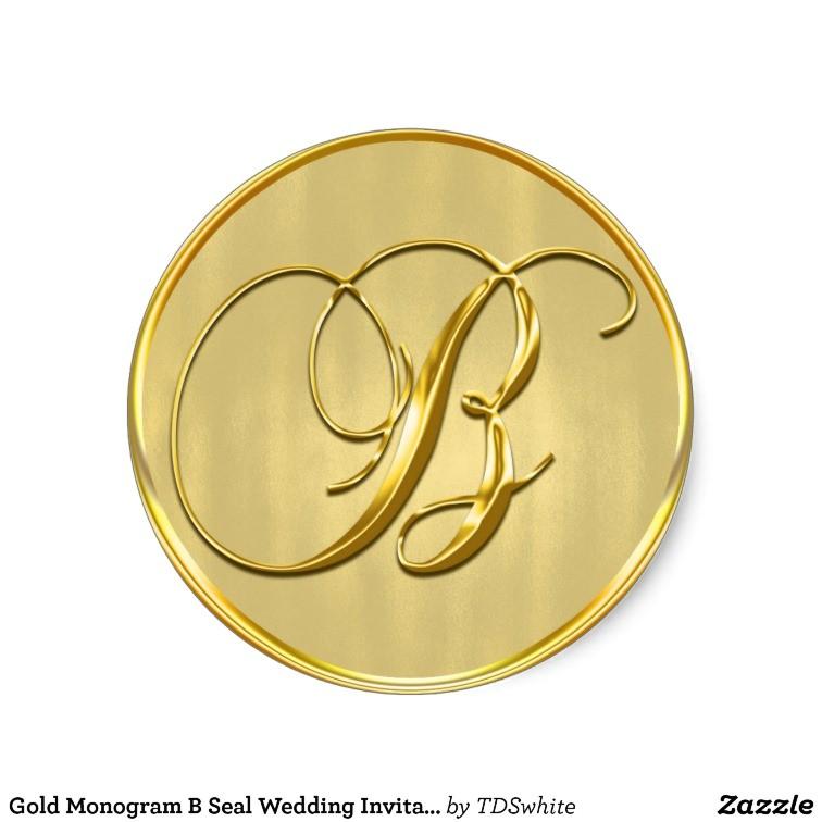 gold monogram b seal wedding invitation holiday classic round sticker 217303747276682583