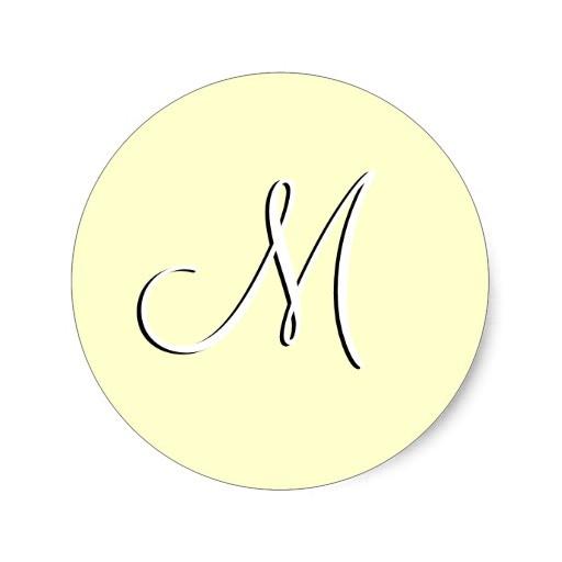 monogram m wedding invitation ivory seal sticker 217924480232928107