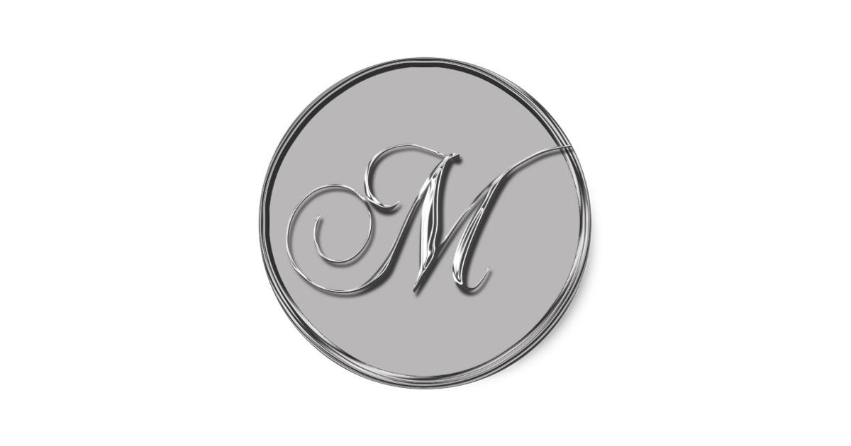 silver formal wedding monogram m seal sticker 217349216615520696