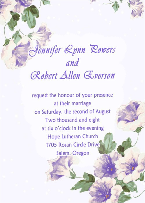 country style purple morning glory spring wedding invitations ewi088