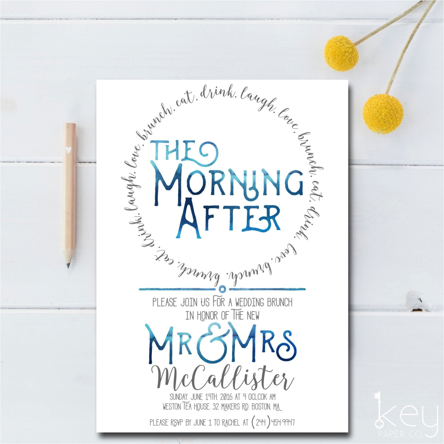 post wedding brunch invitation printable