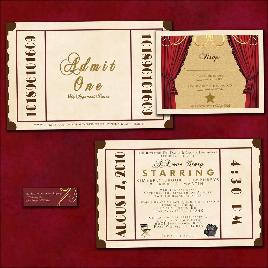 antique theatre ticket custom wedding