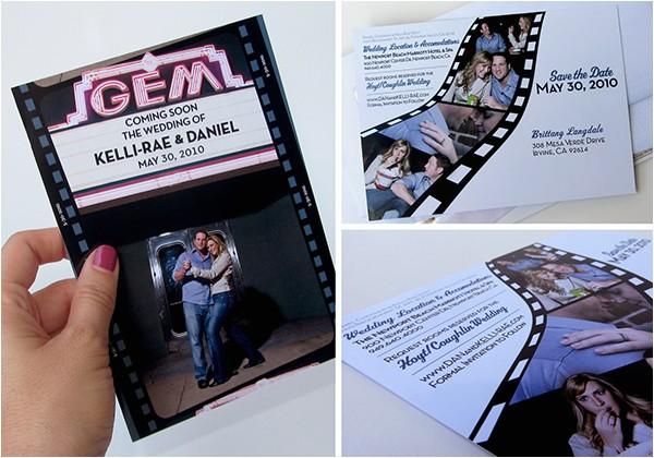 Movie theater Wedding Invitations Wedding Invitation Package Hollywood Movie theme On
