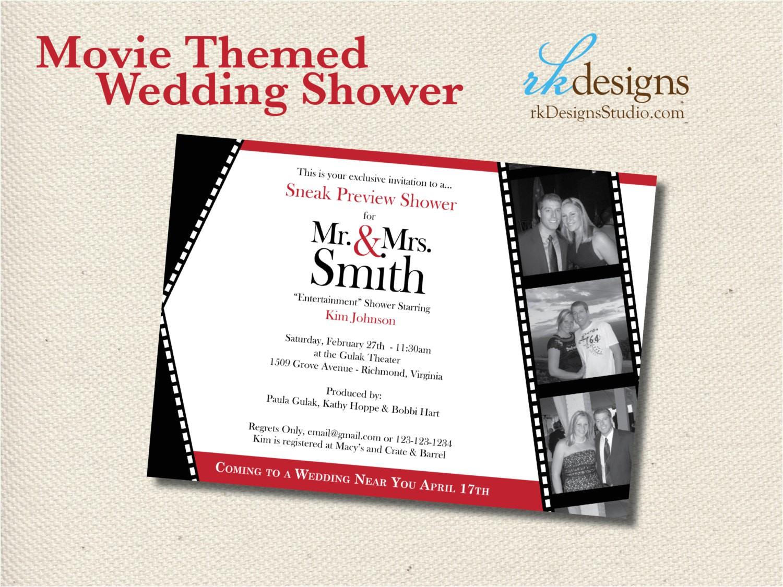 movie themed wedding shower invitation