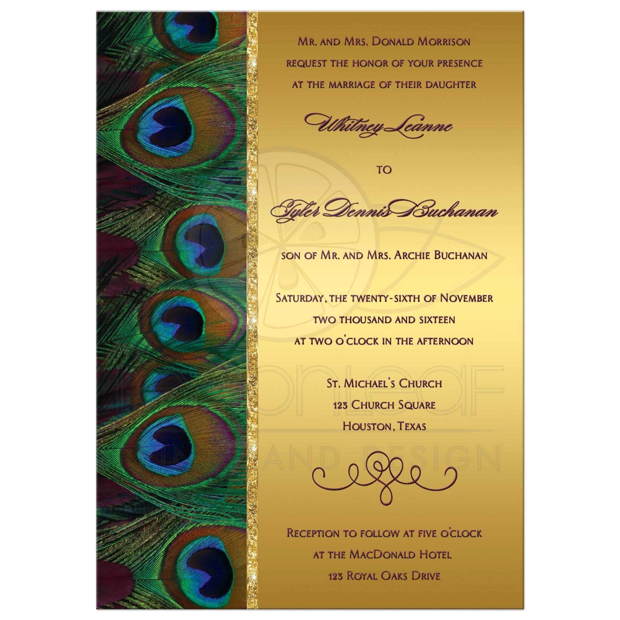 multi color wedding invitations inspirational wedding invitation peacock feathers