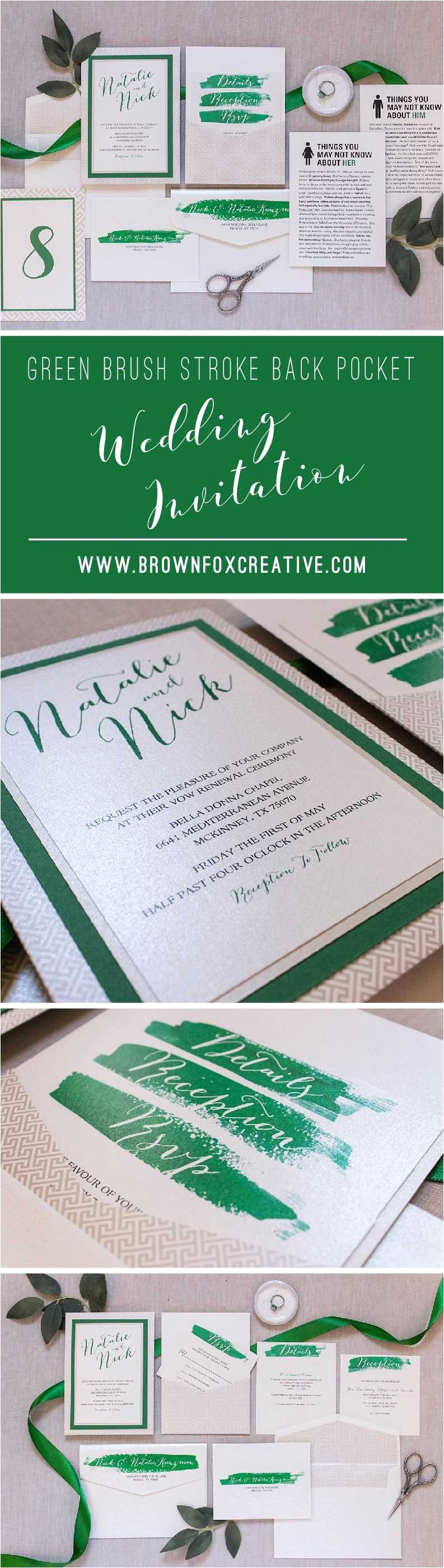 multi color wedding invitations lovely 5x7 green and champagne brush stroke water color back pocket
