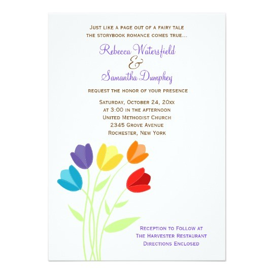 tulip multi color rainbow wedding invitation 161409586550662025