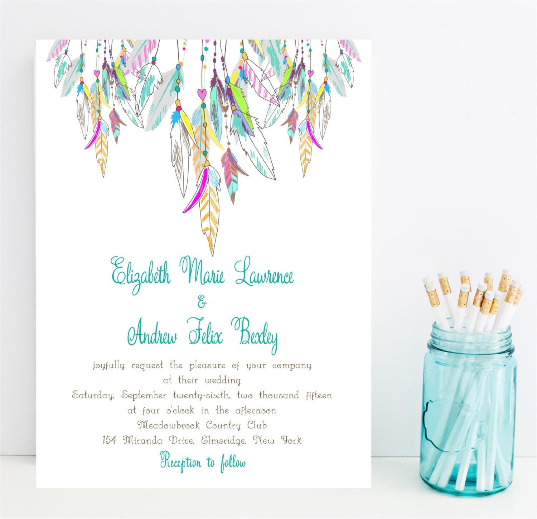 feather wedding invitation native