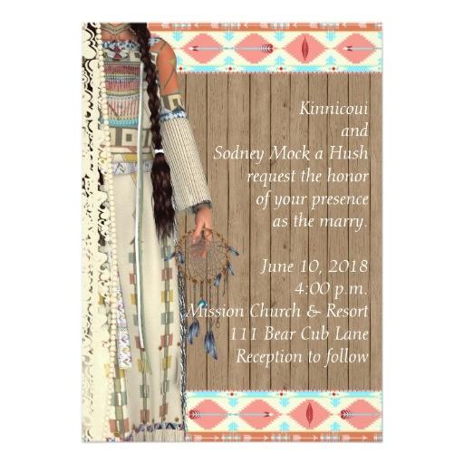 native american wedding invitation with bride 256184934873739425
