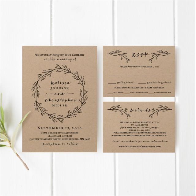 printable wedding invitation template set kraft wedding invitation leaf wreath natural organic kraft paper rustic simple
