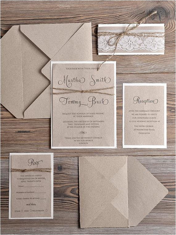rustic wedding invitations 20 country style lace wedding invitations rustic wedding invitation craft wedding invites lace invites