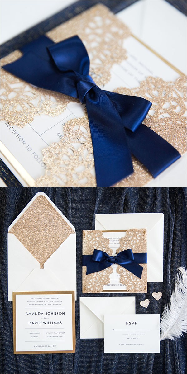 7 classic navy blue wedding colors with matched wedding invitations