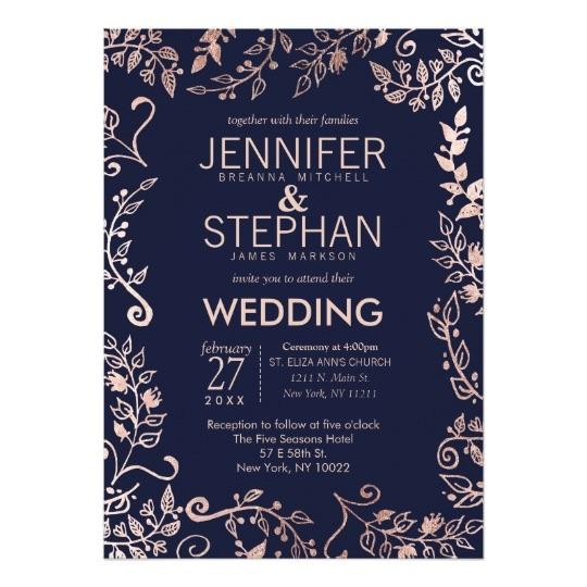 elegant navy blue rose gold floral wedding invites 256305371345701542
