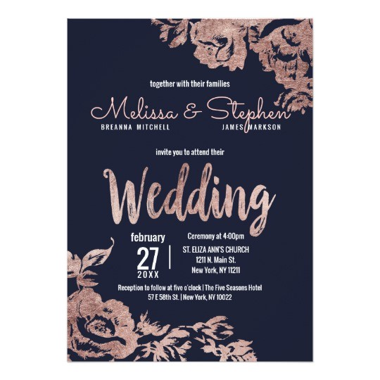 navy blue and rose gold floral wedding card 256189097882921463