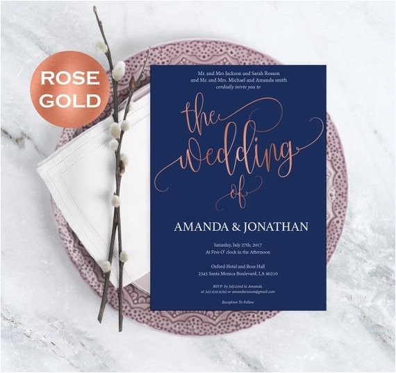 navy blue and rose gold wedding