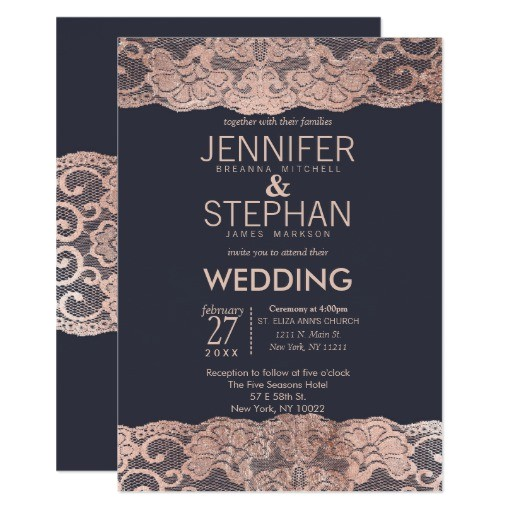 rose gold lace and navy blue wedding invitations 256966627061514547
