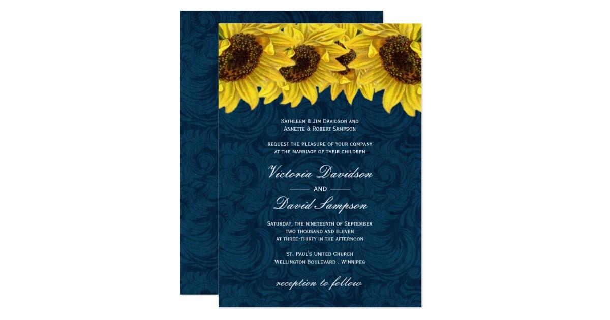 navy blue sunflower wedding invitation 161475905764669090