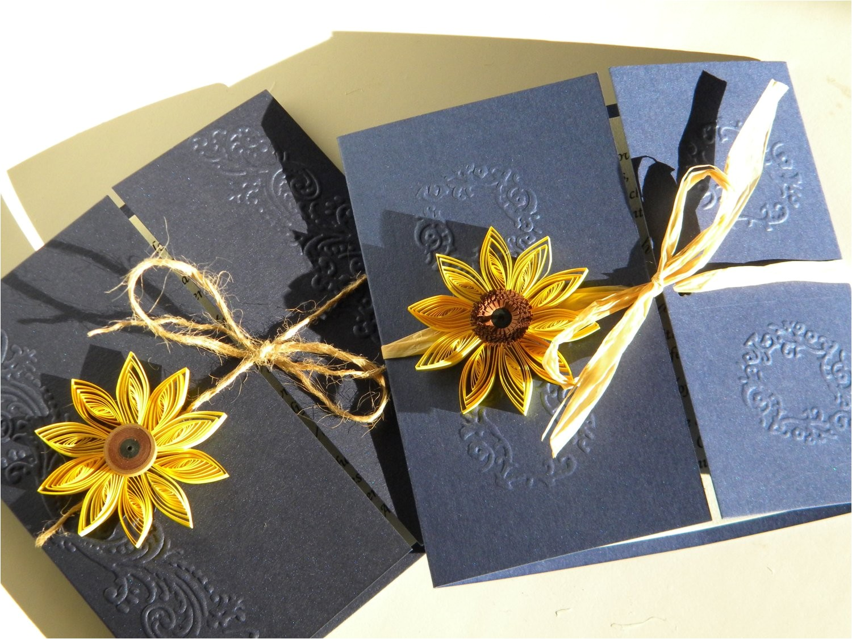 Navy Blue and Sunflower Wedding Invitations Sunflower and Navy Blue Wedding Invitation Sunflower Wedding