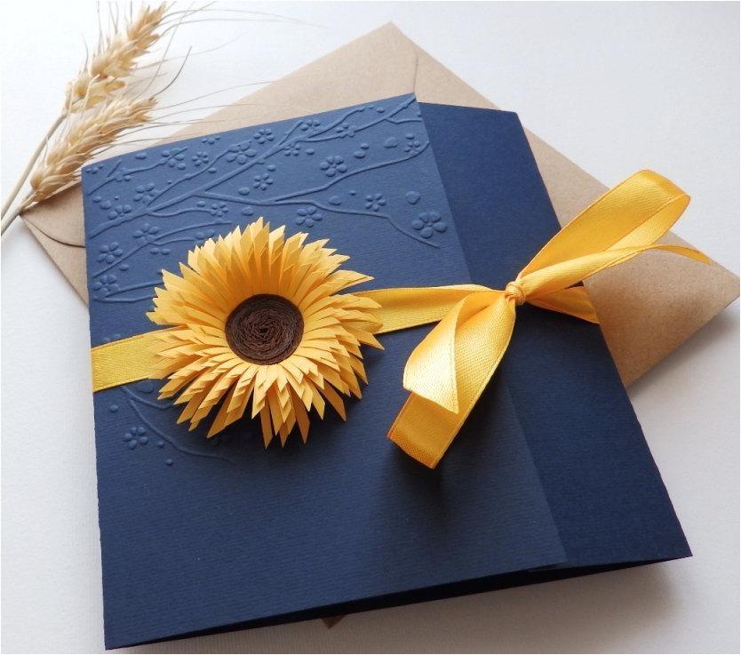 sunflower handmade wedding invitationcountry invitationrustic invitationnavy blue inviteunique wedding inviteyellow daisy invitation