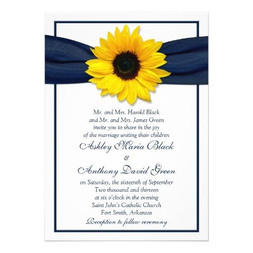 sunflower navy blue ribbon wedding invitation 161609690401610205