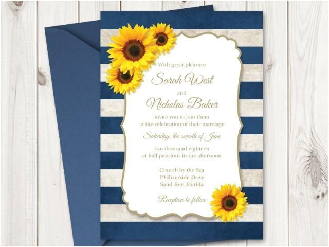 sunflower wedding invitation printable template with navy blue stripes vintage wedding invitations rustic wedding diy invites ms word