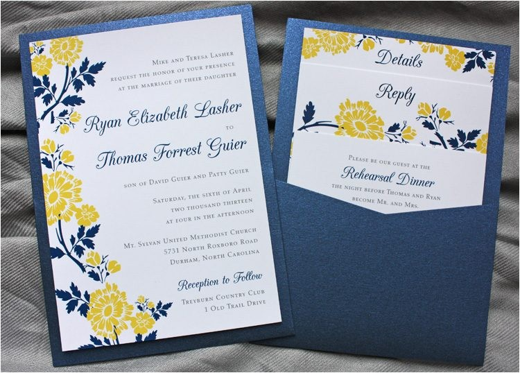 designs navy blue and silver wedding invitations with blu