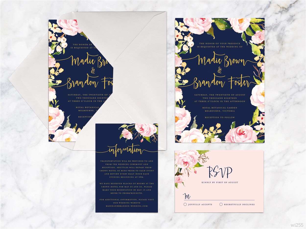 navy blue wedding invitation kits printable wedding invitation set rose pink navy gold wedding