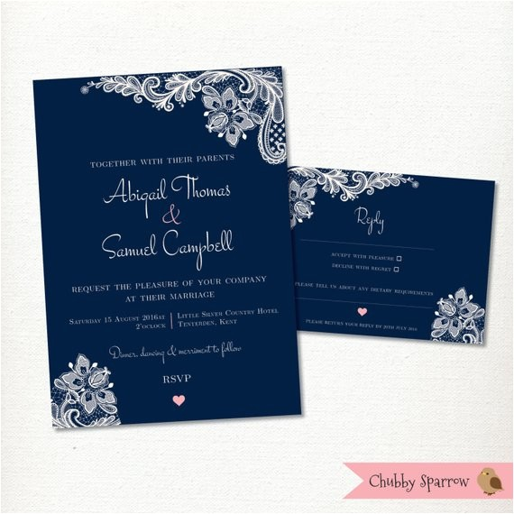 navy blue wedding invitation rsvp card