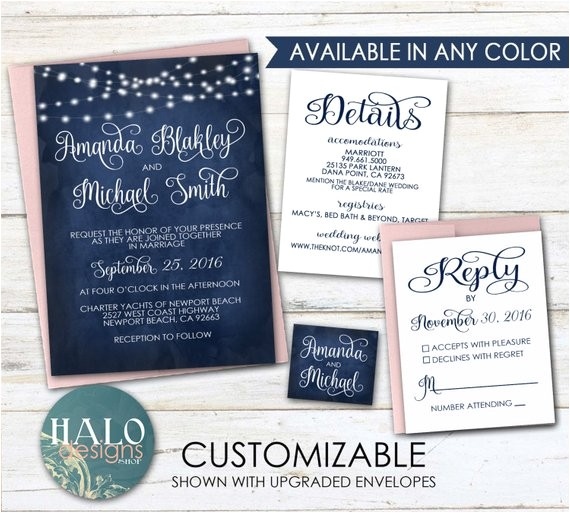 navy wedding invitations invitation kit