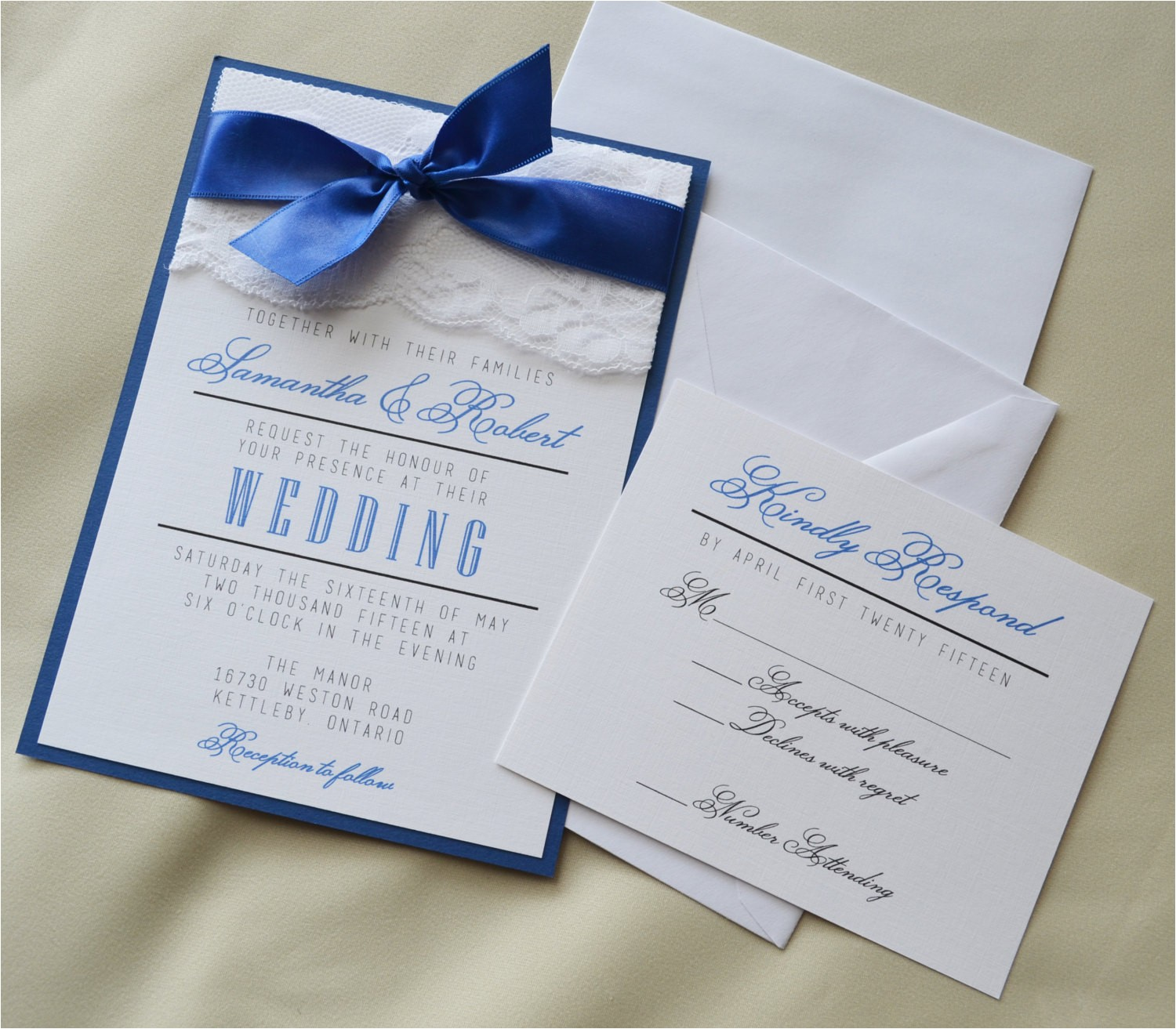 navy blue wedding invitation sets
