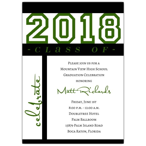 class of celebration green graduation invitations p 604 57 g1010