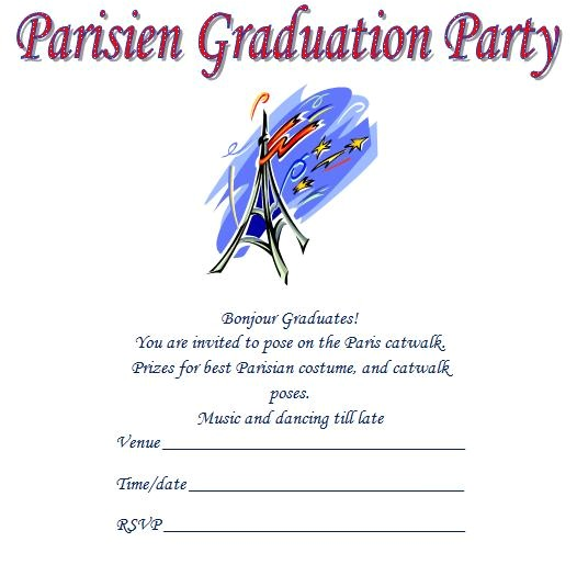 parisien printable graduation invitations