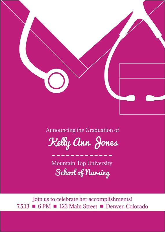 free printable graduation party invitation template nurse