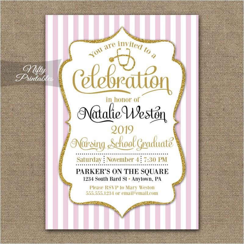 nursing school invitation printable