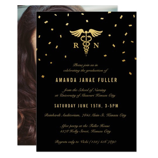 nursing graduation invitations gold black 256980364085008428