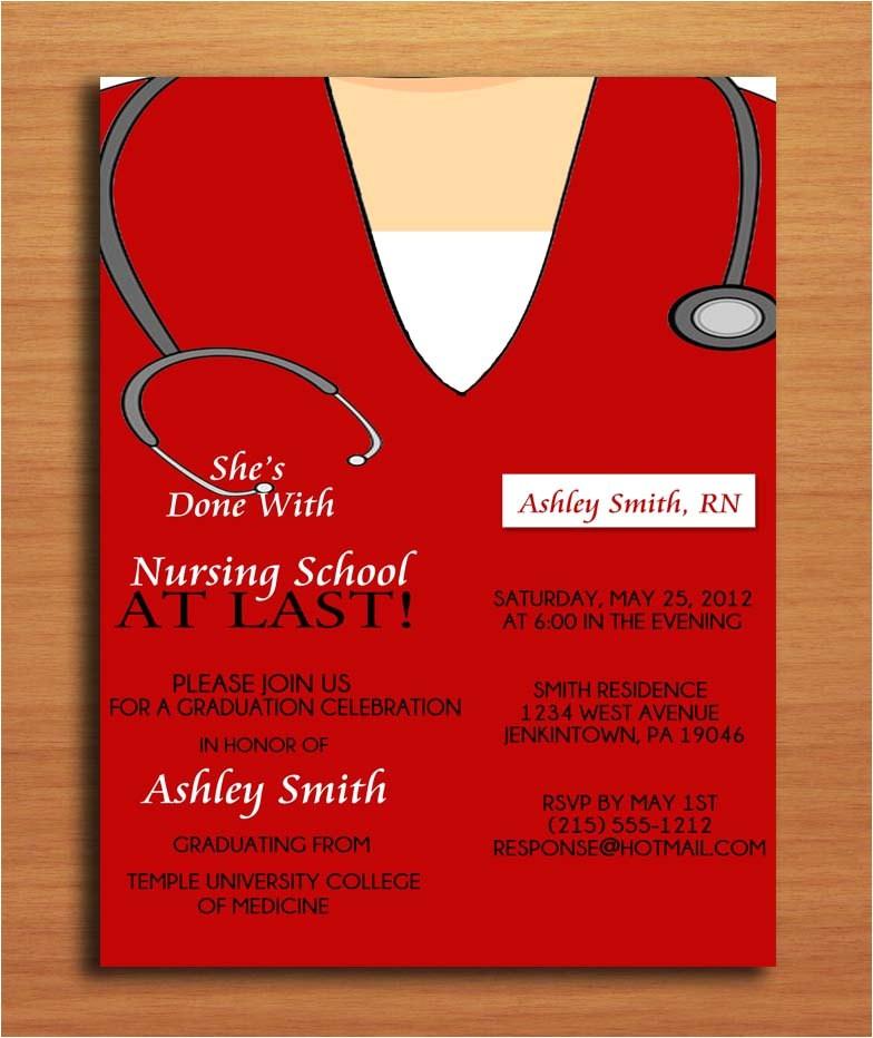 Nursing Graduation Party Invitations Card Scrub top Nursing Medical Degree by Sapphiredigitalworks