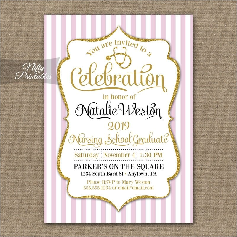 nursing school invitation printable