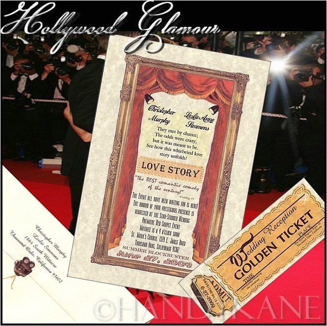 Old Hollywood themed Wedding Invitations Qty 50 Hollywood Glamour Movie theme Wedding Invitations and