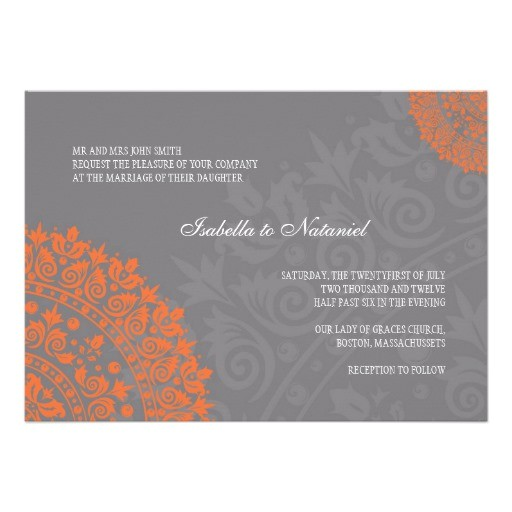 charcoal gray and orange damask wedding invitation 161829823281293518