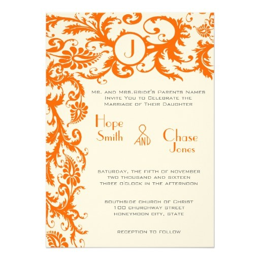 coral gray orange damask wedding invitation 161584092237608743