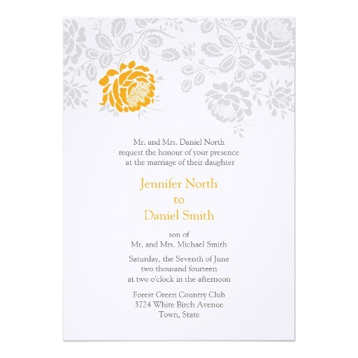 damask wedding invitations orange and gray 161266396967038949