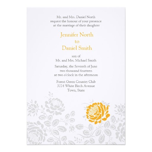 orange and gray damask wedding invitations 161470480824605805