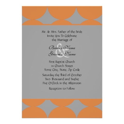 orange and gray modern polka dots wedding invitation 161638645909904354